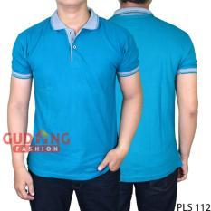 Gudang Fashion - Polo Shirt Pria Lengan Pendek - Biru Tosca Kerah Abu