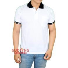Gudang Fashion - Polo Shirts Lengan Pendek Keren Pria - Putih Kerah Hitam