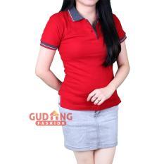 Spesifikasi Gudang Fashion Polo Shirts Pendek Polos Wanita Merah Maroon Kerah Abu