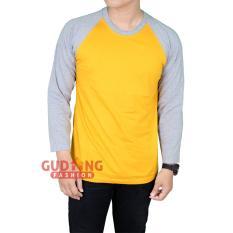 Harga Gudang Fashion Raglan Tshirt Lengan Panjang Pria Kuning Mangga Lengan Abu Termahal