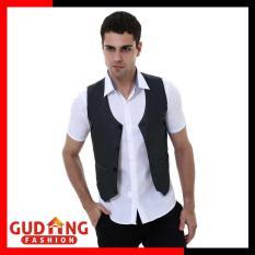 Gudang Fashion - Rompi Waistcoat Bisnis Formal Pria - Abu Tua