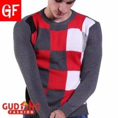 Beli Gudang Fashion Sweater Pria Bahan Rajut Motif Kotak Kombinasi Warna Lengkap