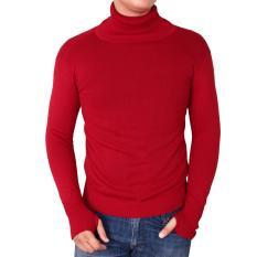 Beli Gudang Fashion Sweater Pria Keren Kerah Tinggi Merah Terbaru