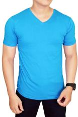 Gudang Fashion - T Shirt Polos Basic Biru Muda Vneck Lengan Pendek Spandex - Biru Muda