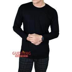 Review Gudang Fashion T Shirt Pria Terbaru Lengan Panjang Hitam