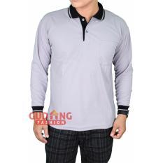 Gudang Fashion - Tshirt Polo Pria Lengan Panjang - Abu Muda Kerah Hitam