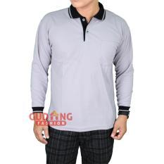 Jual Gudang Fashion Tshirt Polo Pria Lengan Panjang Abu Muda Kerah Hitam Import