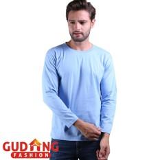 Toko Gudang Fashion Tshirts Panjang Pria Smart Casual Biru Online Terpercaya