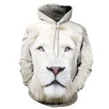 Toko Guyue Wanita 3D Digital Print Pullover Sweater Hoodie Sweatshirt White Lion Lengkap Tiongkok