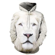 Toko Guyue Wanita 3D Digital Print Pullover Sweater Hoodie Sweatshirt White Lion Dekat Sini