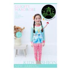 gw 133g pakaian anak perempuan / baju setelan kaos piyama frozen glow in the dark