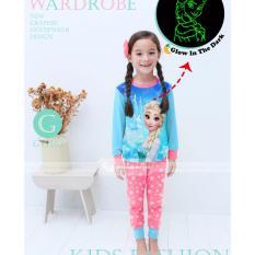 gw 162g pakaian anak perempuan / baju setelan kaos piyama frozen glow in the dark