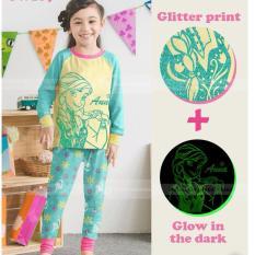 gw 169k pakaian anak perempuan / baju setelan kaos piyama the frozen glow in the dark