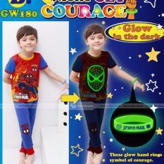 gw 180b pakaian anak laki laki / baju setelan kaos piyama spiderman glow in the dark