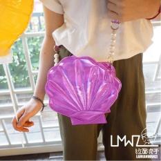 GX Ramen Bola Gaya Korea Musim Panas Gaya Baru Cute Laser Manis Linsmall House Shell Tas Bahu Diagonal Kecil Tas Wanita (Ungu Laser) -Intl