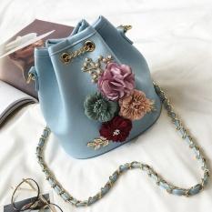 Diskon Gx Three Dimensional Flowers Bucket Bag Mini Small Bag Summer Newsweet Lady Small Bag Chain Messenger Bag Shoulder Bag Blue Intl