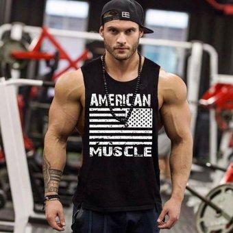 Pencari Harga Gym Tank Top Pria Binaraga Pakaian dan Longgar Mens Sleeveless Shirt Rompi Kapas Singlet