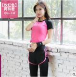 Ulasan Tentang Kasual Gym Yoga Perempuan Olahraga Jas Rose Lengan Pendek Celana