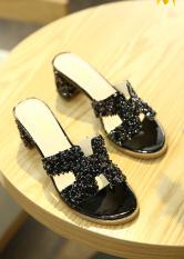 H Sandal Baru Sandal Musim Panas Modis Perempuan (Ungu Bata Hitam)