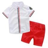 Harga H118 Summer Cotton Baby Boy S Kids Anak Pakaian 2 Pcs 1 Set T Shirt Celana Pendek Age 1 5 Putih Intl Terbaik