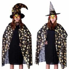 Halloween Karnaval Kostum Baru Emas Labu Cetak Jubah Kain Kain Selendang Jubah-Intl