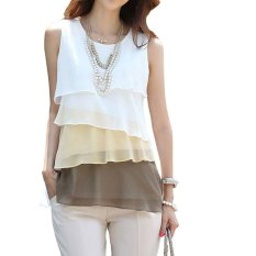 Harga Han Edisi Hirarkis Fashion Lady S Sleeveless Chiffon Top Terbaru