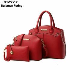 Toko Hand Bag Korean Style Evellyn 3 In 1 Shoulders Bag Tas Bahu Sling Bag Tas Selempang Pouch Dompet Red Lengkap Di Jawa Barat