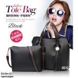 Toko Hand Bag Korean Style Mariana 2 In 1 Shoulders Bag Tas Bahu Pouch Dompet Black Lengkap Jawa Barat