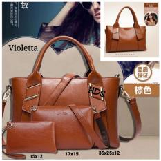 Hand Bag Korean Style Violetta 3 in 1 (Shoulders Bag/ Tas Bahu, Sling Bag/ Tas Selempang, Pouch/ Dompet) Brown