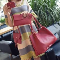 Spek Handbag Korean Style 4In1 Red Jawa Barat