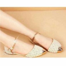 Handmade Flat Shoes - Sepatu/Sandal Flat Wanita Cantik Brukat Rantai - Krem