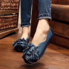 Jual Handmade Wanita Kulit Asli Sepatu Loafers Kasual Lembut Nyaman Flat Shoes Biru Intl Online