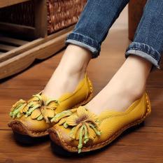 Jual Handmade Wanita Kulit Asli Sepatu Loafers Kasual Lembut Nyaman Flat Shoes Kuning Intl Satu Set