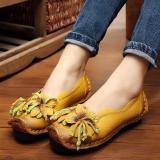 Spesifikasi Sepatu Wanita Kulit Asli Buatan Tangan Loafers Nyaman Dan Lembut Kasual Her Datar Kuning Yang Bagus Dan Murah