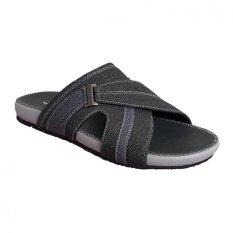 Toko Handymen Pu 02 Sandal Bahan Kombinasi Denim Leather Black Navy Terlengkap