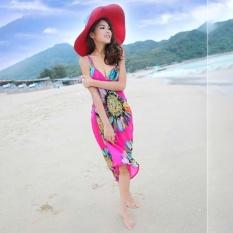 Hang-qiao Bikini Tali Bunga Pantai Gaun Selendang Scarf untuk Wanita (Hotpink)-