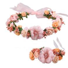 Hang-qiao Fashion Bride Hiasan Kepala Pernikahan Karangan Bunga Kepala Bunga Pergelangan Tangan Bunga Gelang