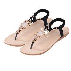 Menggantung Hang-qiao Fashion Baru Her Datar Ukuran Better Sepatu Sandal Wanita English. Berlian Imitasi Sandal Jepit Hitam-Internasional