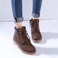 Menggantung Hang-qiao Fashion Wanita Pergelangan Kesemek Martin Sepatu Botnya Tempur Militer Coklat