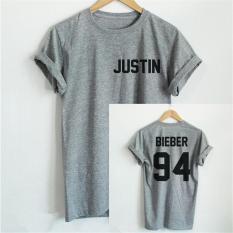 Spesifikasi Hang Qiao Letter Bieber Justin 94 Printed Loose T Shirt Grey Intl Yang Bagus Dan Murah