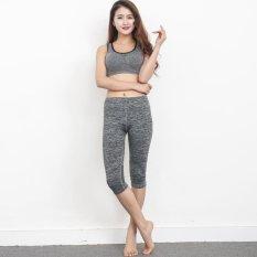 Promo Hang Qiao Baru Korea Kurus Hip Tujuh Celana Kasual Yoga Treadmill Aerobik Ketat Abu Abu Dark Hang Qiao Terbaru
