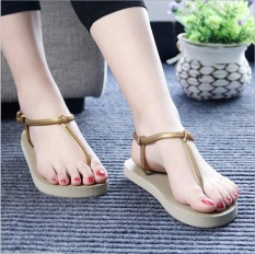 Hang-qiao Sandal Wanita Roman Sendal Datar T-Klip Sandal Pantai Musim Panas Sandal