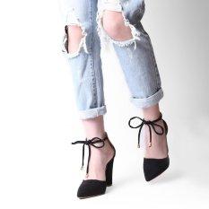Toko Hang Qiao Heels Tebal Ankle Tali Suede Sandal Bertumit Tinggi Bentuk Tirus Pompa Hitam Intl Terlengkap Di Tiongkok