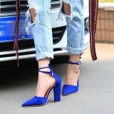 Iklan Hang Qiao Heels Tebal Ankle Tali Suede Sandal Bertumit Tinggi Bentuk Tirus Pompa Dark Biru Intl