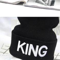 Harga Hang Qiao Unisex Outdoor Hats Letter King Thick Warm Knit Cap Black Intl Lengkap