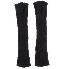 Hang-qiao Lengan Musim Dingin Hangat Wanita Merajut Crochet Jari Sarung Tangan Hitam-Intl