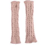 Harga Termurah Hang Qiao Lengan Musim Dingin Hangat Wanita Merajut Crochet Jari Sarung Tangan Khaki Intl