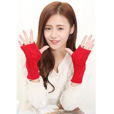 Hang-qiao Lengan Musim Dingin Hangat Wanita Merajut Crochet Jari Sarung Tangan Merah-Intl