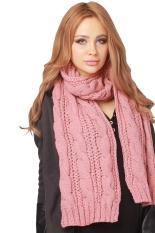 Hang-qiao Wanita Syal Musim Dingin Hangat Knit Cowl Bungkus Selendang Pink-Intl