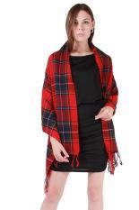 Harga Hang Qiao Wanita Wol Jumbai Kotak Kotak Cek Scarf Selendang Bungkus Merah Yg Bagus